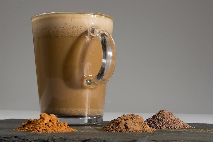 latte, Aztec latte, Café organico, cynamon, pieprz cayenne, kakao, jedzeniem i piciem