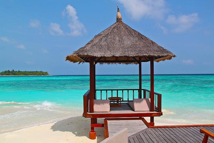 Cabana de platja, platja, vacances, vacances, sorra, Mar, mar blau