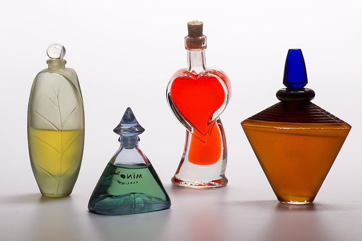 still life, bottles, perfume, decoration, perfume bottles, color, bottle