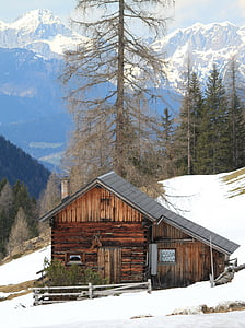 alpine, mountains, snow, building, landscape, wintry, winter