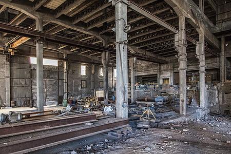elhagyott gyárban, üres, fogszuvasodás, ROM, épület, elhagyott, törött