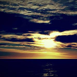 dawn, sun, sea