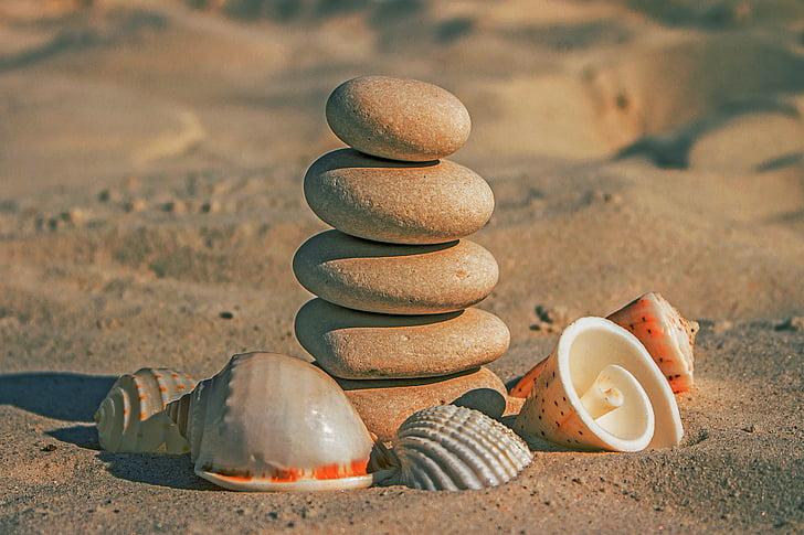 pedres, sorra de la platja, conquilles, Zen, equilibri