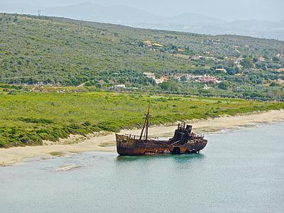 skeppsbrott, kusten, Hulk, stranden, båt, vraket, Rust