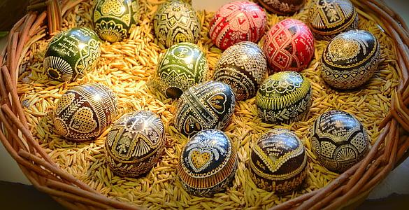 부활절 달걀, 세관, 왁 스 기법, 그린, 이스터에 그, 부활절, 전통