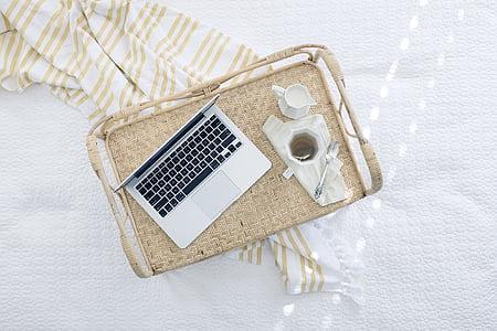cup, laptop, macbook, mug, tea, tray