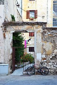 bakgård, Zadar, cykel, Kroatien, mål, gamla, väggen