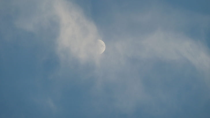 небо, Луна, облака, вечернее небо, Небесно-голубой