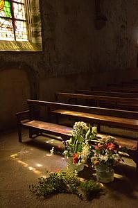 窗口, 教会, 教会的窗口, 太阳, 阳光, 彩色玻璃, 花束