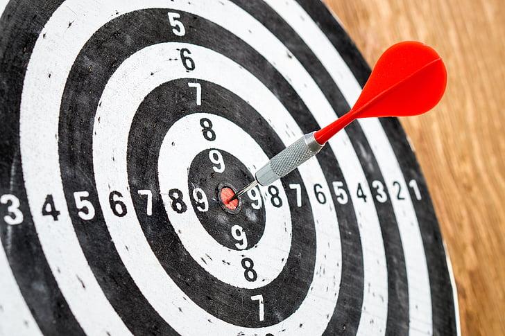 objectif, objectif, succès, jeu de fléchettes, Jeux de fléchettes, précision, concours