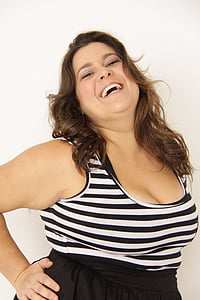 dona, greix, Plus mida, portuguès, model de, somriure, alegria