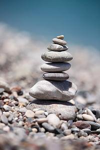 équilibrage, pierres, plage, empilé, mer, été, Pierre