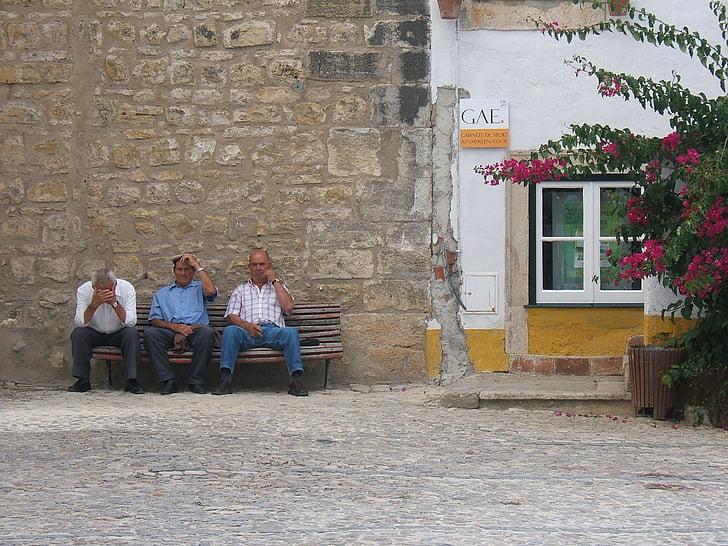 Стіна, старі чоловіків, людина, лавки, Старий, сидячи, середині дорослих чоловіків