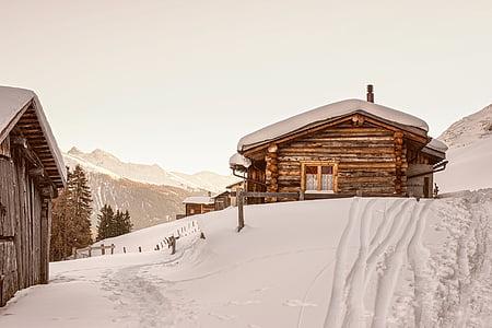 switzerland, winter, snow, mountains, log cabin, cottage, house