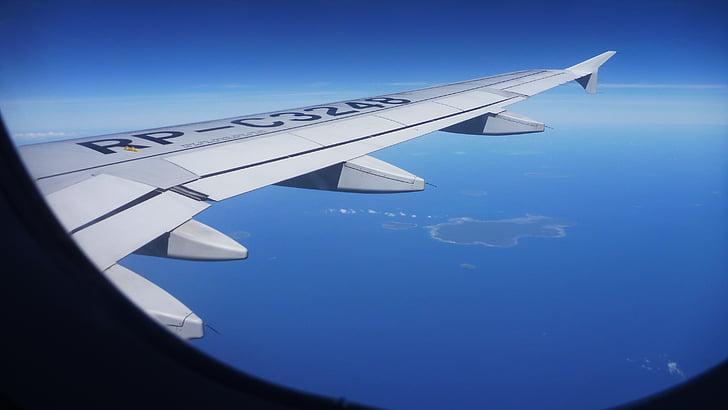 lentokone view, lentokoneen ikkunasta näkymä, lentokoneen ikkunasta, siipi, Ilmakuva