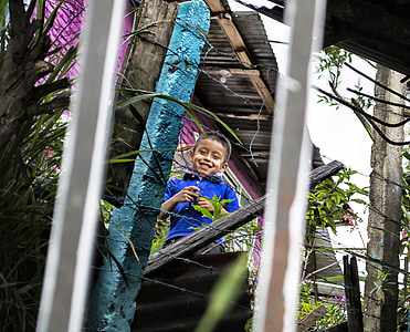 child, far, color, grating, silhouette, play, laugh