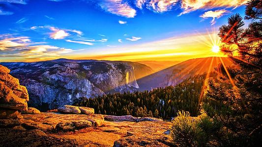soluppgång, bergen, landskap, natursköna, morgon, Sky, moln