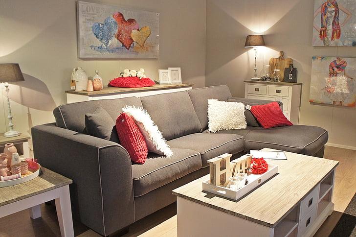meubles, banc, atmosphère, Salon