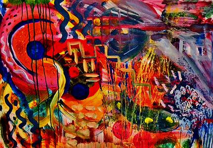 ภาพวาด, ศิลปะสมัยใหม่, ศิลปะ, บทคัดย่อ, หลายสี, ภาพวาดสีอะคริลิค, ความคิดสร้างสรรค์
