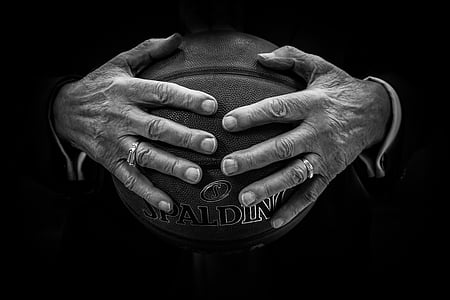 ball, basketball, hands, rings, human hand, human body part, senior adult