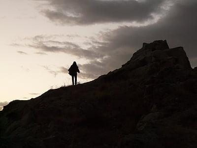 wanderin, hike, silhouette, ridge, rise, dusk