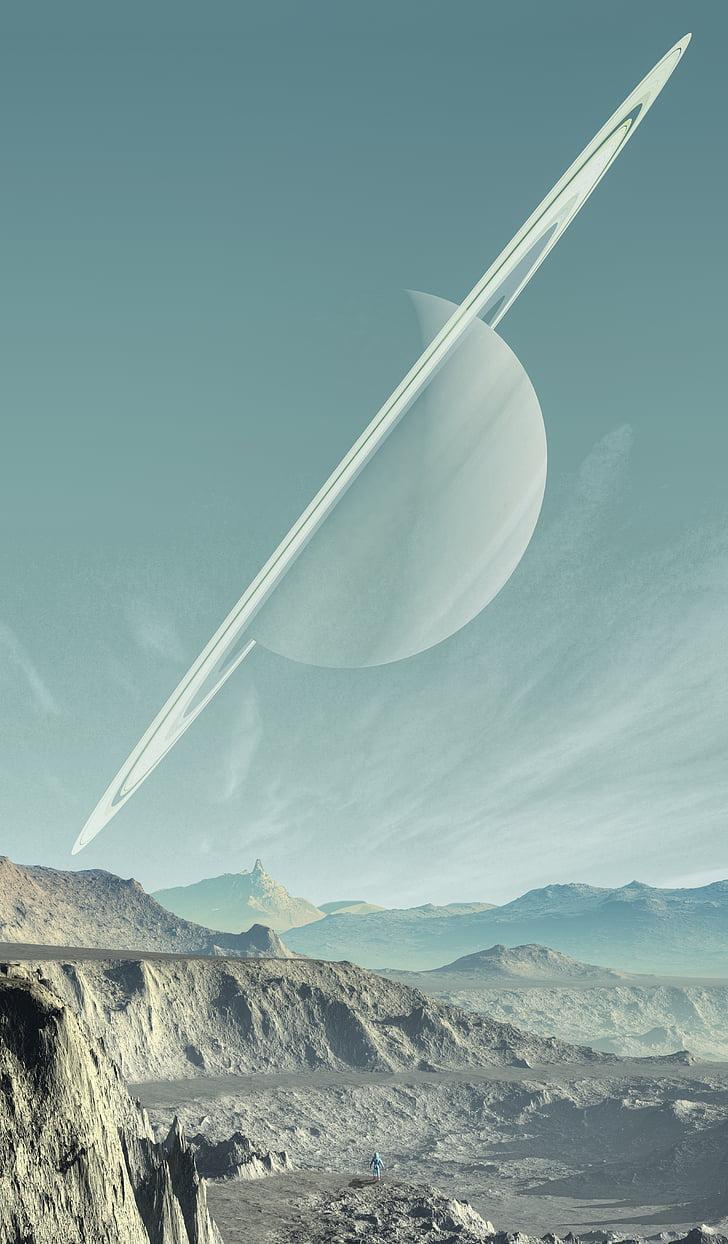 Saturno, paisagem, planeta, céu, montanhas, sólidos, Cordilheira