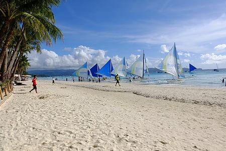 valkoinen hiekkaranta, Boracay, pilvi, taivas