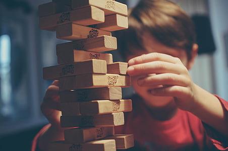 jenga, game, play, hand, boy, kid, child