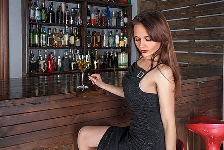 dona, barra, vi, l'alcohol, begudes, ampolla, Restaurant