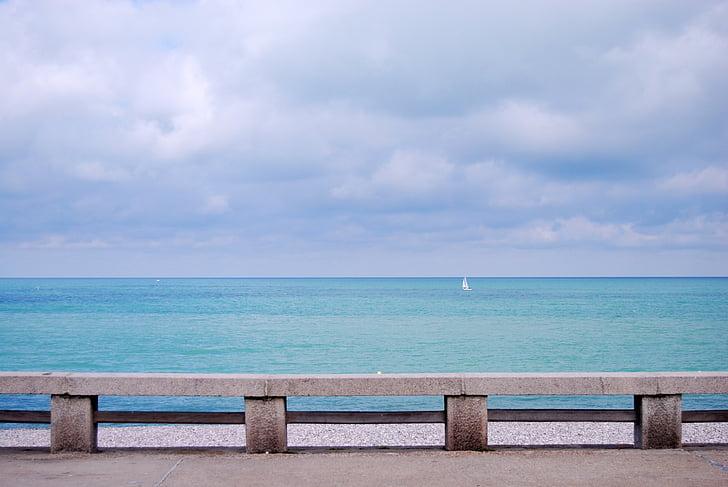 tôi à?, Pháp, Etretat, hòa bình của tâm, kỳ nghỉ, một cánh buồm trắng cô đơn, nước