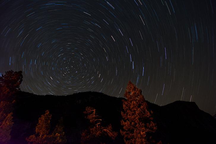 timelapse, fotografi, Constellation, nighttime, himmelen, Star, stjerner