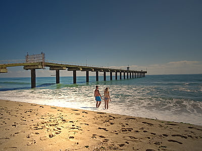 sand, couple, bridge, beach, vacation, beach couple, holiday