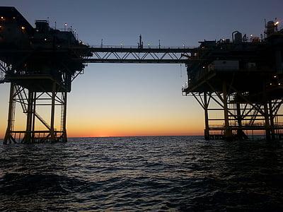 Golf, aparell de natural gas, en alta mar, plataforma petroliera, indústria, Mar, petroli