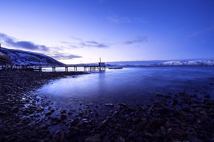 Islândia, a paisagem, céu, neve, Lago, cais, natureza