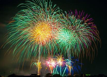 fireworks, light, japan, festival, sky, beautiful, celebration