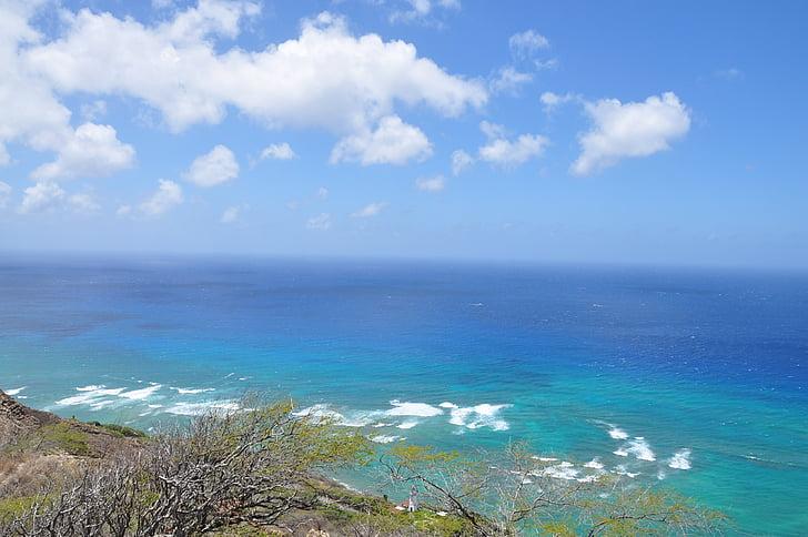 hav, blå himmel, sjøen, blå himmel skyer