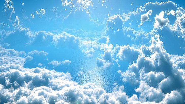 clouds, blue, water, cloudscape, landscape, white, bright