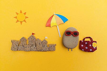 platja, l'estiu, Roca, Art, Artesania, escena, estiu a la platja