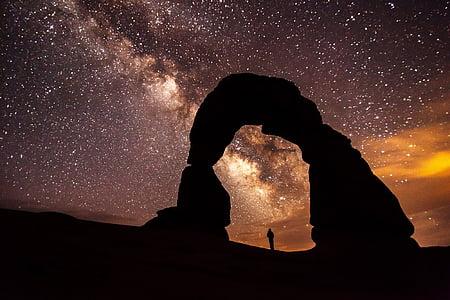 arc delicat, posta de sol, Roca, formació, pedra sorrenca, Moab, arcs