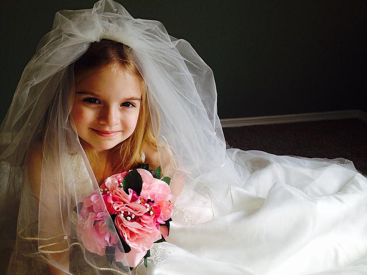 Svatební šaty, dítě, Děvče, malá holčička, Pěkné, šaty, Svatba