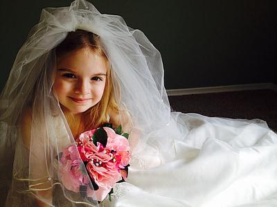 wedding dress, child, girl, little girl, pretty, dress, wedding