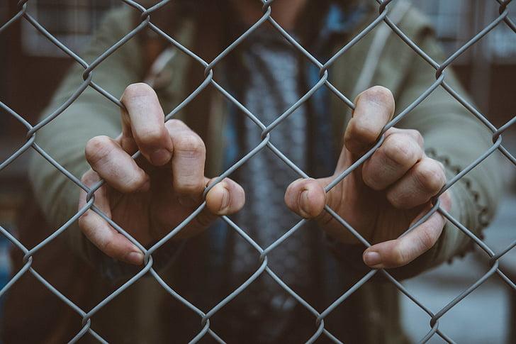 people, hand, fence, outdoor, prison, prisoner, human Hand