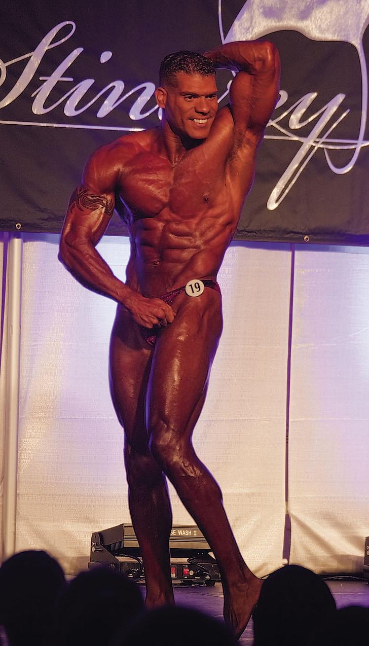 trenažieris, spēcīgs, muskuļu, rada, atbilst, jaunais, vīrietis