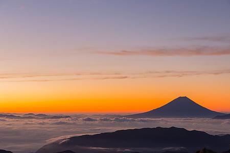 kitadake, Japan, MT fuji, morgon glöd, soluppgång, magiska timmen, bergsklättring