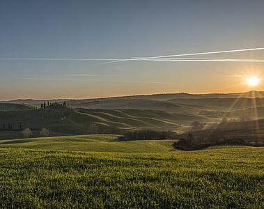 Toscana, peisaj, apus de soare, plajă, natura, peisajul natural, pace