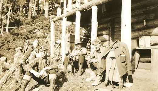 gamla foton, gruvarbetare, Alaska, Vintage, retro, gruvdrift, Mountain