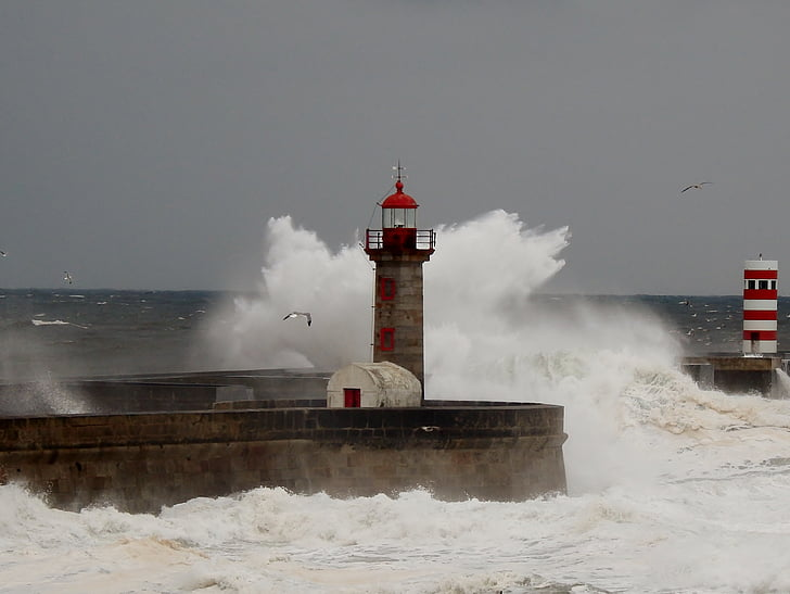 phare, Porto, Portugal, mer, Storm, ouragan - tempête, Beacon