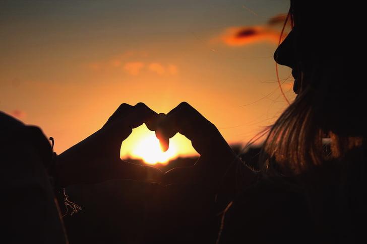 일몰, 사랑, 심장, abendstimmung, 레드, 로맨스, 태양