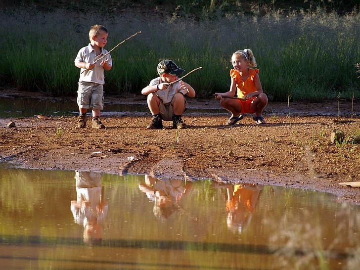infantesa, riu, reflexió, a l'exterior