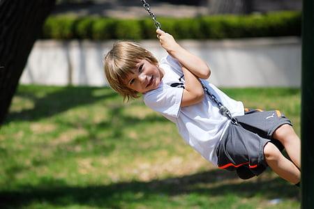 swing, boy, summer, child, fun, happy, childhood